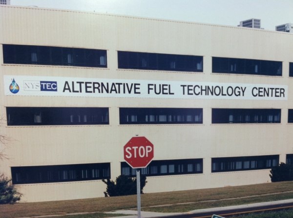 Parking Garage Banner :: NYS TEC Alternate Fuel Technology Center banner, corporate banner, over sized banner, large banner :: Rome, NY