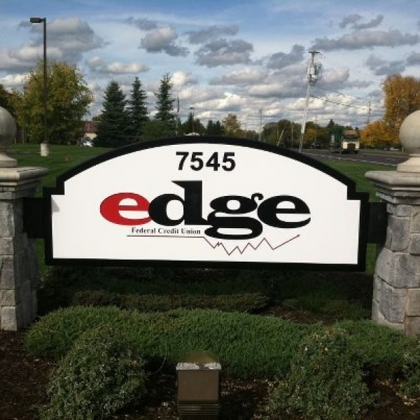 Edge Federal Credit Union :: Carved and Painted HDU sign. :: Liverpool, NY