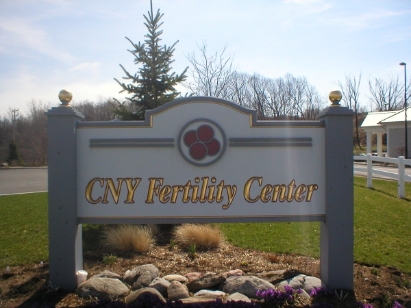 CNY Fertility Center :: sign installation, painted signs, custom carved signs, gold leaf signs :: Syracuse, NY