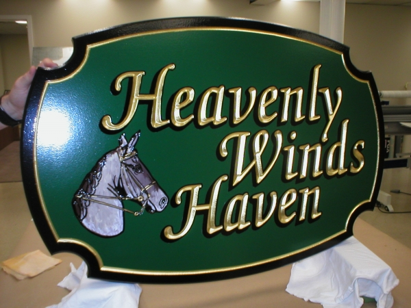 Custom gold carved signs :: gold signs with custom design :: Florida