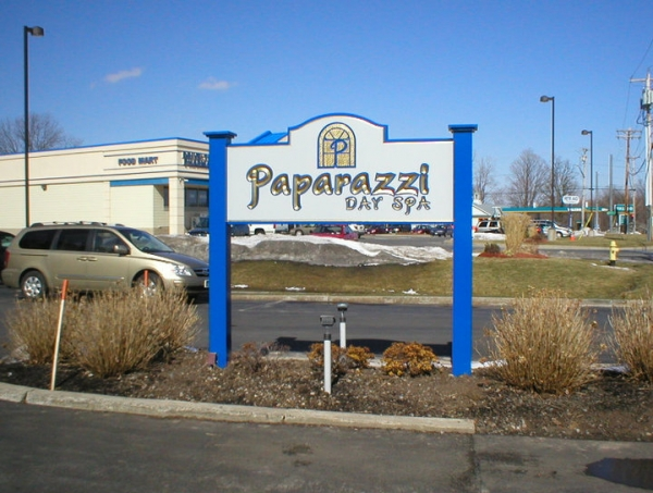 Paparazzi Day Spa :: sign installation, painted signs, custom carved signs, gold leaf signs :: Liverpool, NY