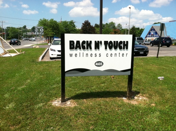 Illuminated sign, Syracuse NY, mounted outdoor signs, Syracuse NY, Custom signs, Syracuse NY :: Back in Touch Wellness Spa - Illuminated at night, mounted & installed - East Syracuse, NY :: Syracuse NY, Central NY, Upstate NY
