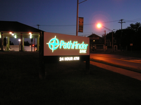 Illuminated sign, Syracuse NY, mounted outdoor signs, Syracuse NY, Custom signs, Syracuse NY, Bank signage, Syracuse NY :: Pathfinder Bank - Illuminated mounted custom sign - Syracuse NY :: Syracuse NY, Central NY, Upstate NY