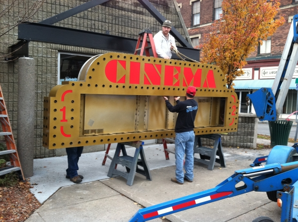 Cinema LED Revolving Message Board :: Our team working diligently to service signage. ::